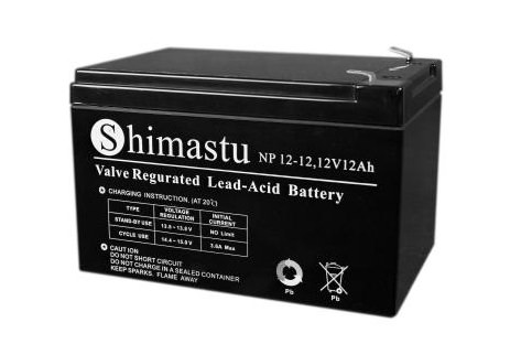 Аккумулятор SHIMASTU NP-12-12 (12Ач, 12В) свинцово-кислотный, необслуживаемый герметичный